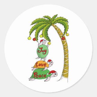 Hawaiian Christmas Turtle Santas Classic Round Sticker