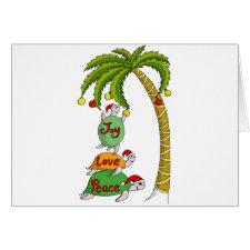 Hawaiian Christmas Turtle Santas Greeting Card