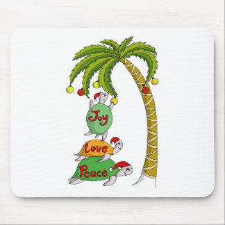 Hawaiian Christmas Turtle Santas Mouse Pad