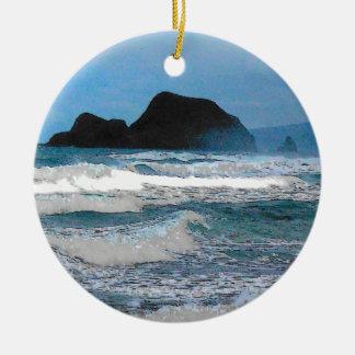 Hawaiian Coast Blue Sky Christmas Ornaments