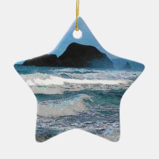 Hawaiian Coast Blue Sky Christmas Tree Ornaments
