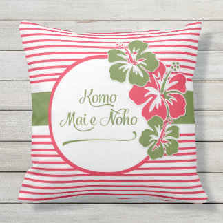 Hawaiian Come in, Sit, Rest Hot Pink Hisbiscus Outdoor Pillow
