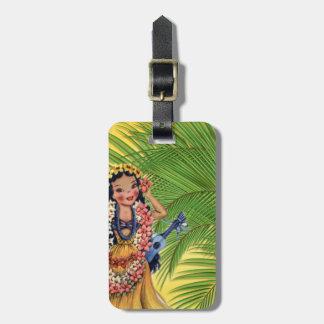 Hawaiian Dancer With Grass Skirt and Palm Tree Bag Tag