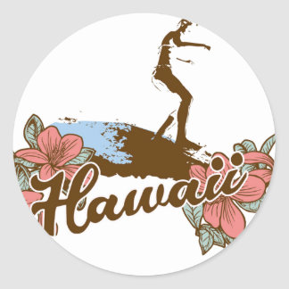 hawaiian de la resaca de Hawaii de la playa del Pegatinas Redondas