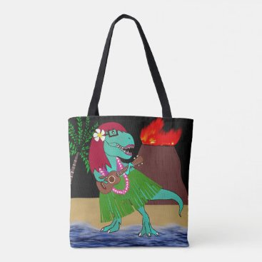Beach Themed Hawaiian Dinosaur Tote Bag