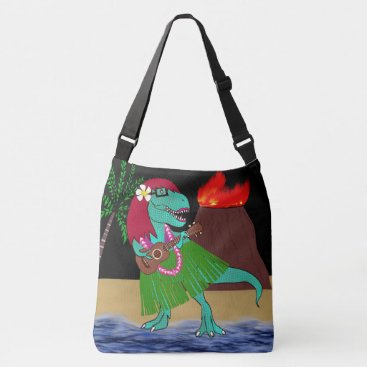 Beach Themed Hawaiian Dinosaur Ukulele Crossbody Bag