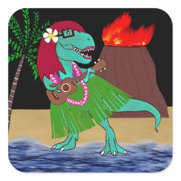 Beach Themed Hawaiian Dinosaur Ukulele Square Sticker