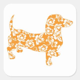 Hawaiian Doxie Dachshund Square Sticker