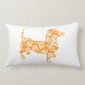 Hawaiian Doxie Dachshund Throw Pillows