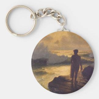 Hawaiian Fisherman, oil on canvas Keychain