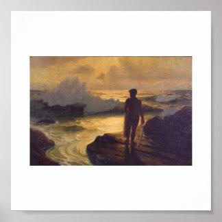 Hawaiian Fisherman, oil on canvas Poster