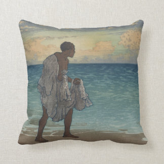 Hawaiian Fisherman Vintage Art, 1920s Throw Pillow
