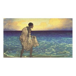 Hawaiian Fisherman, woodblock print Business Cards