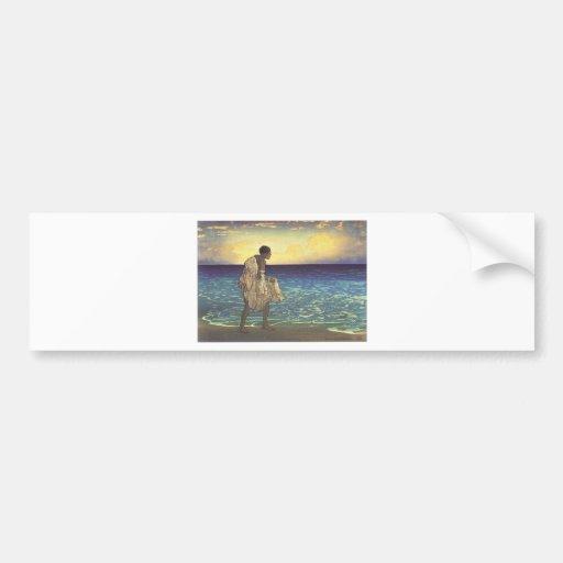 Hawaiian Fisherman, woodblock print Car Bumper Sticker