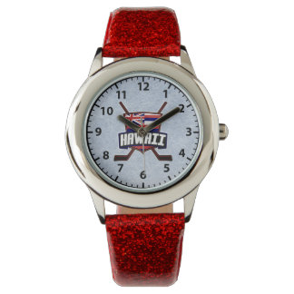 Hawaiian Flag Hockey Logo Wrist Watch