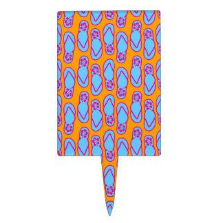 Hawaiian Flip Flops in Blue & Orange Cake Topper