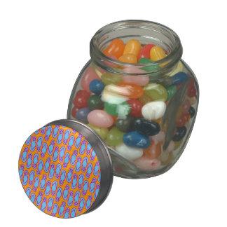 Hawaiian Flip Flops in Blue & Orange Glass Candy Jar