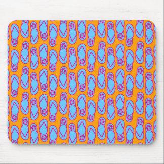 Hawaiian Flip Flops in Blue & Orange Mouse Pad