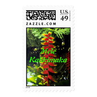 Hawaiian Floral Chistmas Stamp