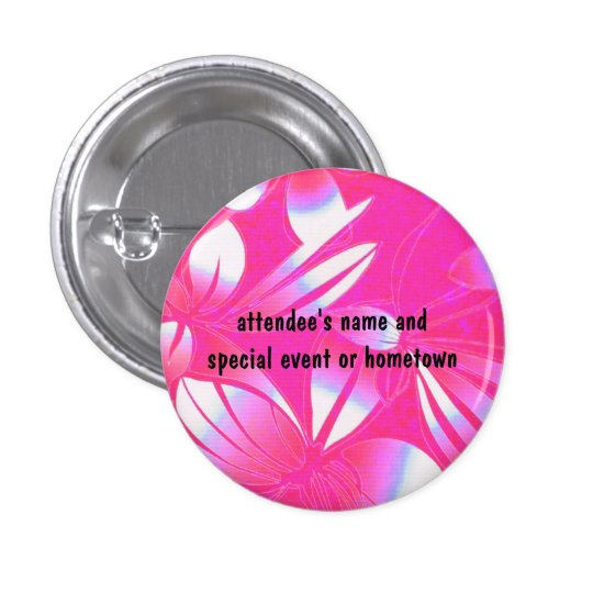 Hawaiian Floral Design Name Badge pink and white Pinback Button