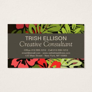 Beach Themed Hawaiian Floral Flower Art Business Card template