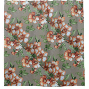 Hawaiian Floral Hibiscus Print Coral And Beige Shower Curtain