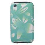 Hawaiian Floral Print Aqua and White Tough iPhone 3 Cases