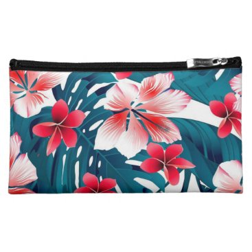 Beach Themed Hawaiian Floral Print Medium Cosmetic Bag