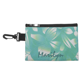 Hawaiian Floral Print Turquoise Accessory Bags
