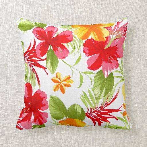 Hawaiian floral tropical de la fiesta del hibisco cojín