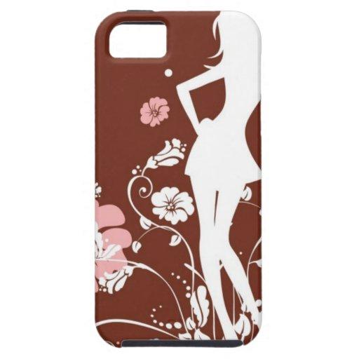 HAWAIIAN FLOWER GIRL RETRO SURF BROWNS PINKS HIBIS iPhone 5 CASE