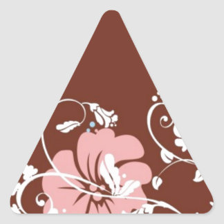 HAWAIIAN FLOWER GIRL RETRO SURF BROWNS PINKS HIBIS TRIANGLE STICKER
