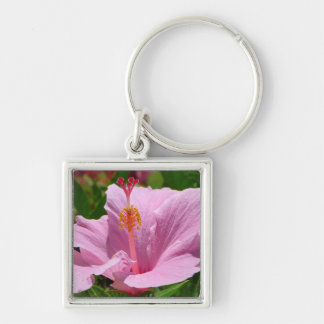 Hawaiian Flower Silver-Colored Square Keychain