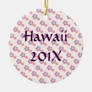 Hawaiian flower pink and purple ceramic ornament