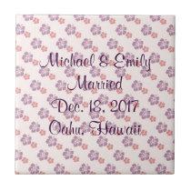 Hawaiian flower pink and purple ceramic tile