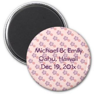 Hawaiian flower pink and purple magnet