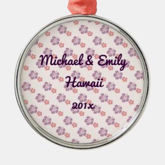 Hawaiian flower pink and purple metal ornament