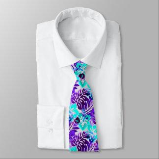 Hawaiian Flowered Pattern Blue Violet Tie
