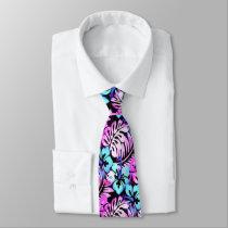Hawaiian Flowered Pattern Pink Aqua Blue Neck Tie