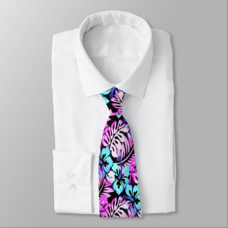 Hawaiian Flowered Pattern Pink Aqua Blue Neck Tie