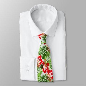 Beach Themed Hawaiian Flowered Pattern Red Green Tie
