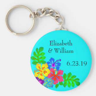 Hawaiian Flowers Aqua Wedding Favor Keychain
