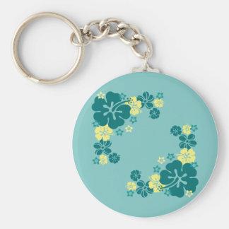 Hawaiian Flowers Basic Round Button Keychain