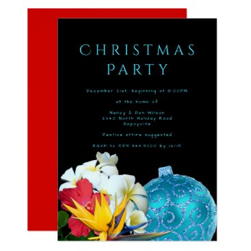 Beach Themed Hawaiian Flowers Beach Christmas Party Invitation