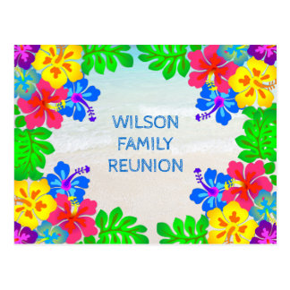 Hawaiian Flowers Border Family Reunion Postcard