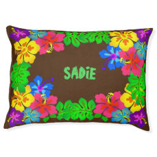 Hawaiian Flowers Border With Name Pet Bed
