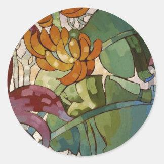 Hawaiian flowers by Arman Manookian c. 1920's Round Stickers