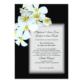 "Hawaiian Flowers Custom Black Wedding Invite 5"" X 7"" Invitation Card"