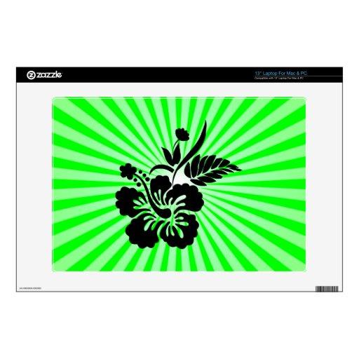 Hawaiian Flowers; green Laptop Decal