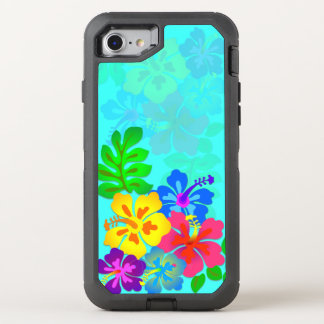 Hawaiian Flowers Hibiscus Leaves Aqua OtterBox Defender iPhone 7 Case